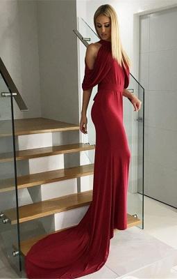 Sexy Burgundy High Neck Sweep Train Half Sleeve Prom Dress_1