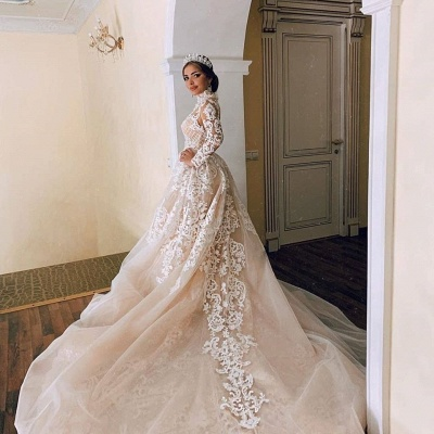 Gorgeous Sheer Tulle Lace Appliques Wedding Dresses | Long Sleeve High Neck Bridal Gowns with Court Train_3