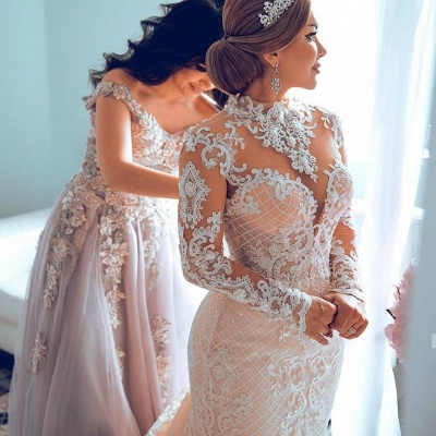 Gorgeous Sheer Tulle Lace Appliques Wedding Dresses | Long Sleeve High Neck Bridal Gowns with Court Train_2