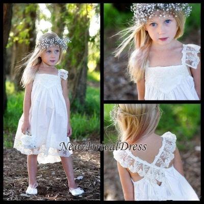 Flower Cute Crisscross Capped-Sleeves Back Girls Dresses_4