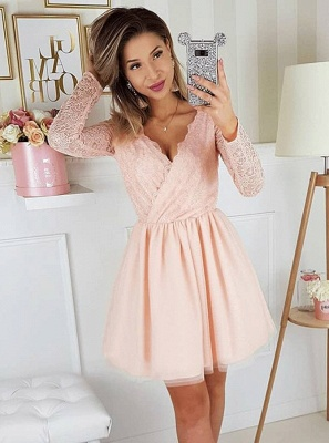 Newest Long Sleeve A-line V-neck Lace Short Homecoming Dress_4