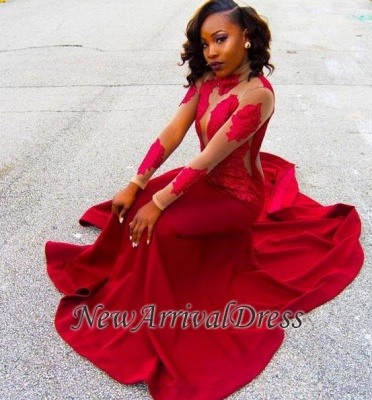 Red Lace Appliques Long-Sleeve High-Neck Sheath Poprlar Prom Dress_1