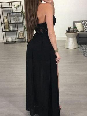 Sexy Halter A-Line Prom Dresses | Black Front Split Evening Dresses_3