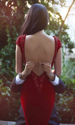 Glamorous Cal Sleeves Beadings Red Evening DressMermaid Prom Gown On Sale_1