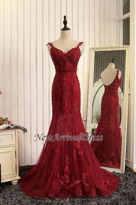 Tulle Mermaid Burgundy Prom Dresses Appliques Open Back Dresses Lace Evening Gowns_1