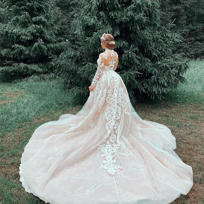 Gorgeous Sheer Tulle Lace Appliques Wedding Dresses | Long Sleeve High Neck Bridal Gowns with Court Train_6