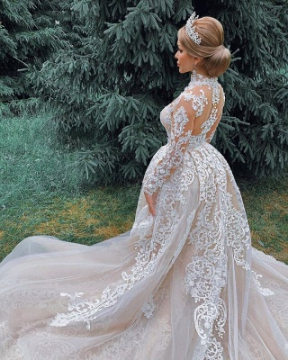 Gorgeous Sheer Tulle Lace Appliques Wedding Dresses | Long Sleeve High Neck Bridal Gowns with Court Train_5