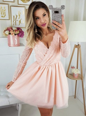Newest Long Sleeve A-line V-neck Lace Short Homecoming Dress_3