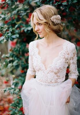 V-Neck Half Sleeve Lace Summer Wedding Dress Elegant Tulle A-Line Bridal Gowns_4