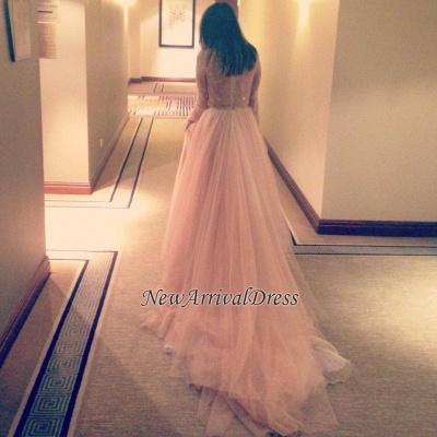 Lace Tulle Beautiful Long-Sleeve Long V-Neck Evening Dress_3