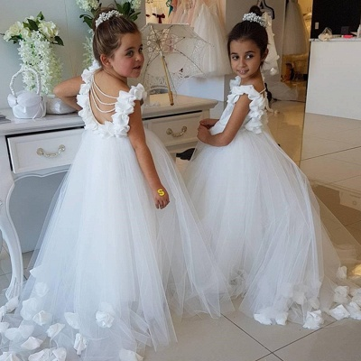 Modest White Cap Sleeve Scoop Cute Flower Girl Dress_4