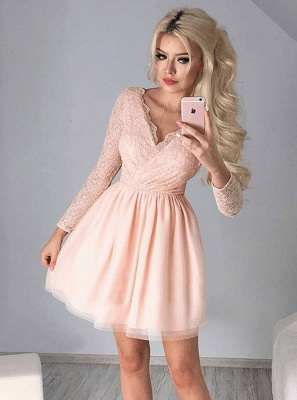 Newest Long Sleeve A-line V-neck Lace Short Homecoming Dress_5