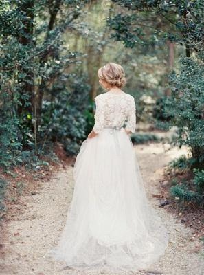 V-Neck Half Sleeve Lace Summer Wedding Dress Elegant Tulle A-Line Bridal Gowns_3