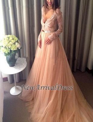 Lace Tulle Beautiful Long-Sleeve Long V-Neck Evening Dress_4
