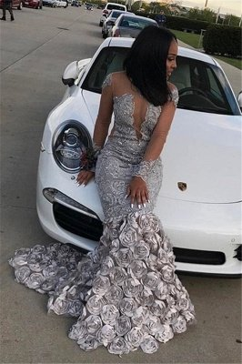 Long Mermaid Long Sleeve Prom Dresses Flowers Appliques Court Train Formal Gowns SK0122_1