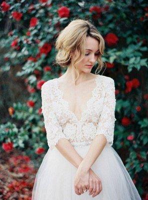 V-Ausschnitt Halbarm Spitze Sommer Brautkleid Elegante Tüll A-Linie Brautkleider_1