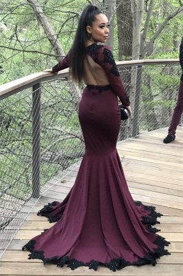 Long Mermaid Long Sleeve Prom Dresses | Appliques Open Back Formal Dresses with Beads SK0041_3