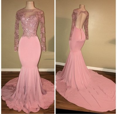 Open Back Long Sleeve Beaded Lace Appliques Pink Shiny Mermaid Prom Dresses Cheap_3