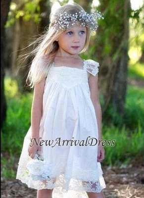 Flower Cute Crisscross Capped-Sleeves Back Girls Dresses