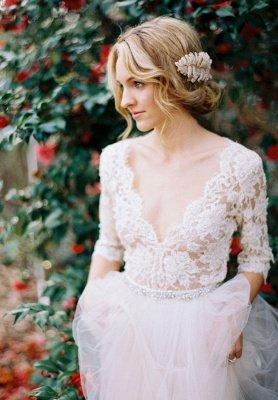 V-Ausschnitt Halbarm Spitze Sommer Brautkleid Elegante Tüll A-Linie Brautkleider_4