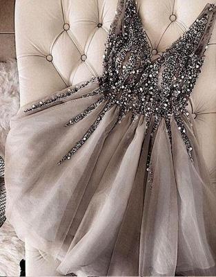 Classic Shiny Beading Homecoming Dresses  V-Neck Sexy Sleeveless Cocktail Dresses