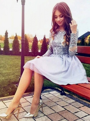 Modest Off-the-shoulder Long Sleeve Lace Appliques Short Homecoming Dress BA9972_3