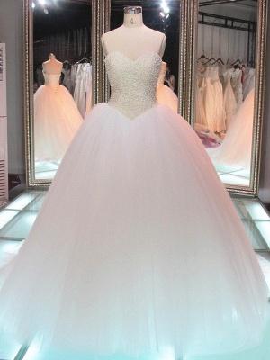 Sweetheart Tulle Cheap Online Pearls Glamorous Princess Elegant Ball Gown Wedding Dresses_2