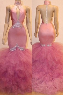 Keyhole Tulle Mermaid Long Prom Dresses Cheap for Formal | Sleeveless Beads Crystals Long Prom Dresses Cheap BC1555_1