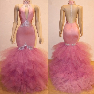 Keyhole Tulle Mermaid Long Prom Dresses Cheap for Formal | Sleeveless Beads Crystals Long Prom Dresses Cheap BC1555_3