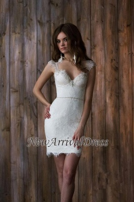 Cap Sleeve Sexy V-neck Crystals Detachable Tulle Overskirt Wedding Dresses Cheap_2