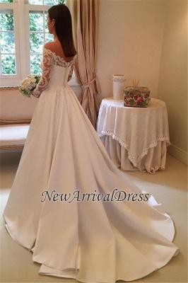 Off The Shoulder Long Sleeve Wedding Dresses   Satin Elegant Bridal Gowns Cheap Online_1