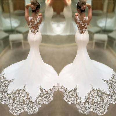 Mermaid Satin Lace Wedding Dresses Cheap 2019 | Sleeveless Sheer Back V-neck Bridal Gowns BC0578_3