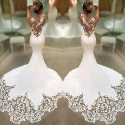 Robes De Mariée En Dentelle De Satin Sirene Pas Cher 2021 | Robes de mariée sans manches à col en V et dos transparent BC0578_3