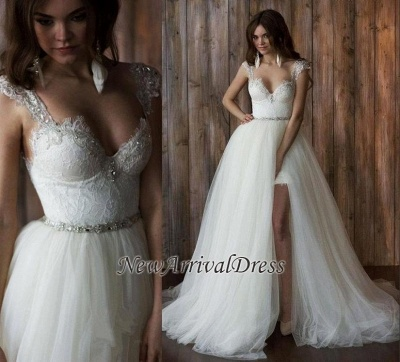 Cap Sleeve Sexy V-neck Crystals Detachable Tulle Overskirt Wedding Dresses Cheap_1