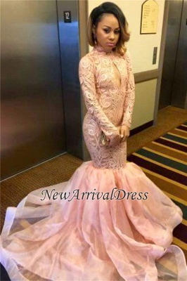 Keyhole Pink High-Neck Sexy Long-Sleeve Tulle Mermaid Prom Dress_1