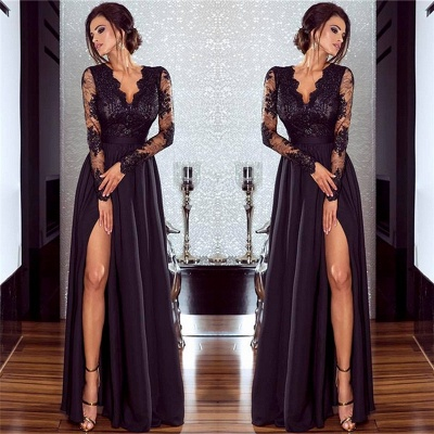 Sexy Slit Long Sleeve Formal Dress Online | Cheap Black Lace V-neck Prom Dresses FB0191_6