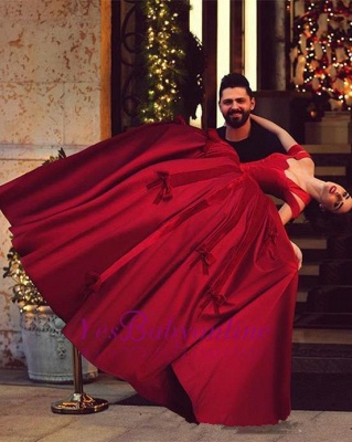 Off-the-Shoulder Red Long Satin Ball-Gown Gorgeous Evening Dresses_3