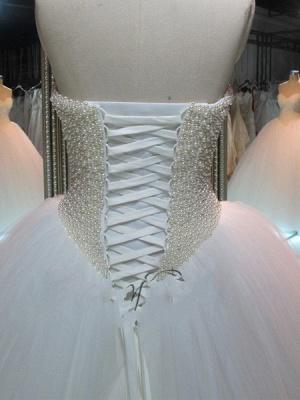 Sweetheart Tulle Cheap Online Pearls Glamorous Princess Elegant Ball Gown Wedding Dresses_3