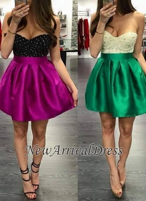 Short Mini Sweetheart-Neck Top Beaded Sexy Homecoming Dresses_2