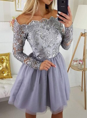 Modest Off-the-shoulder Long Sleeve Lace Appliques Short Homecoming Dress BA9972_4