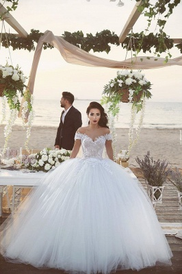 Vintage Off Shoulder Lace Ball Gown Wedding Dress Tulle Court Train Bridal Gown_3