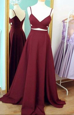 Spaghetti Straps Sweep Train Custom Made A-line Sleeveless Prom Dresses Cheap_2