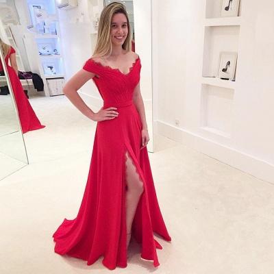 Modest Off the shoulder Front Split Lace Long Prom Dress_3