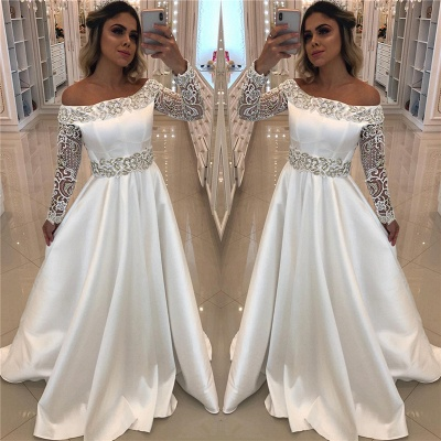 Satin Long Sleeve Wedding Dresses Cheap Online | Off The Shoulder Sexy Beading Appliques Bridal Gowns_3