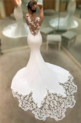 Robes De Mariée En Dentelle De Satin Sirene Pas Cher 2021 | Robes de mariée sans manches à col en V et dos transparent BC0578_1