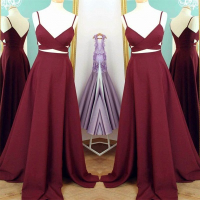 Spaghetti Straps Sweep Train Custom Made A-line Sleeveless Prom Dresses Cheap_3