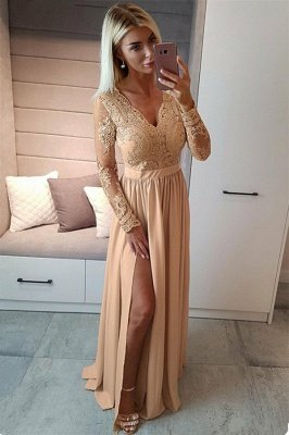 Sexy Slit Long Sleeve Formal Dress Online | Cheap Black Lace V-neck Prom Dresses FB0191_4