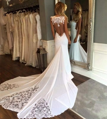 Sleeveless Open Back Lace Sexy Bridal Gowns Cheap | Newest Mermaid Chapel Train Wedding Dresses_3