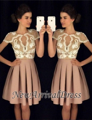 A-Line Beadings Short-Sleeves Newest Short Appliques Homecoming Dresses_3