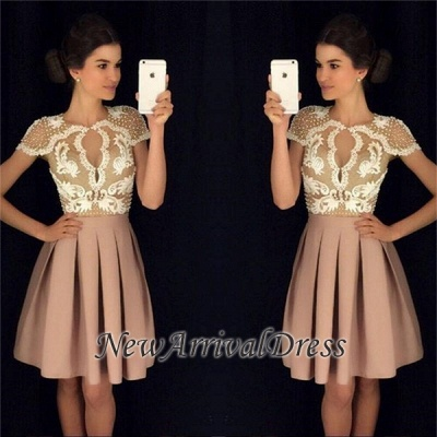 A-Line Beadings Short-Sleeves Newest Short Appliques Homecoming Dresses_1